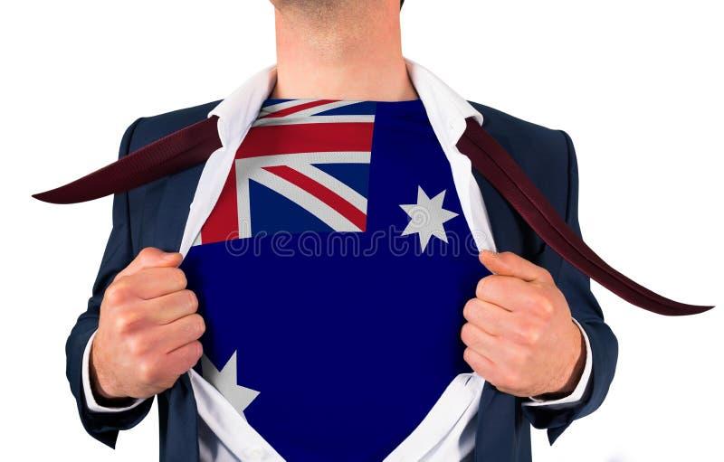Camisa da abertura do homem de negócios para revelar a bandeira de Austrália imagens de stock royalty free