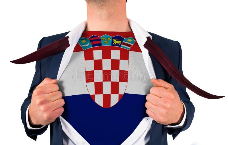 Camisa da abertura do homem de negócios para revelar a bandeira de croatia imagens de stock royalty free