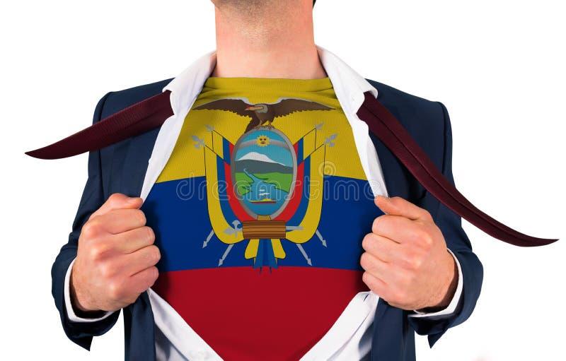 Camisa da abertura do homem de negócios para revelar a bandeira de Equador fotografia de stock royalty free