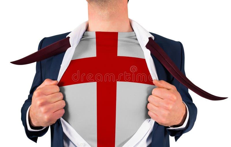 Camisa da abertura do homem de negócios para revelar a bandeira de Inglaterra imagens de stock royalty free