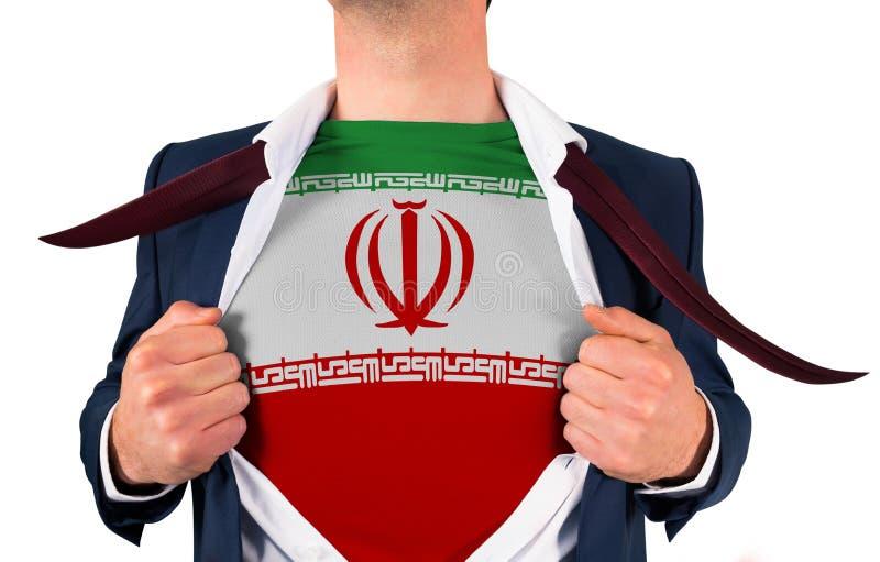 Camisa da abertura do homem de negócios para revelar a bandeira de Irã imagem de stock royalty free