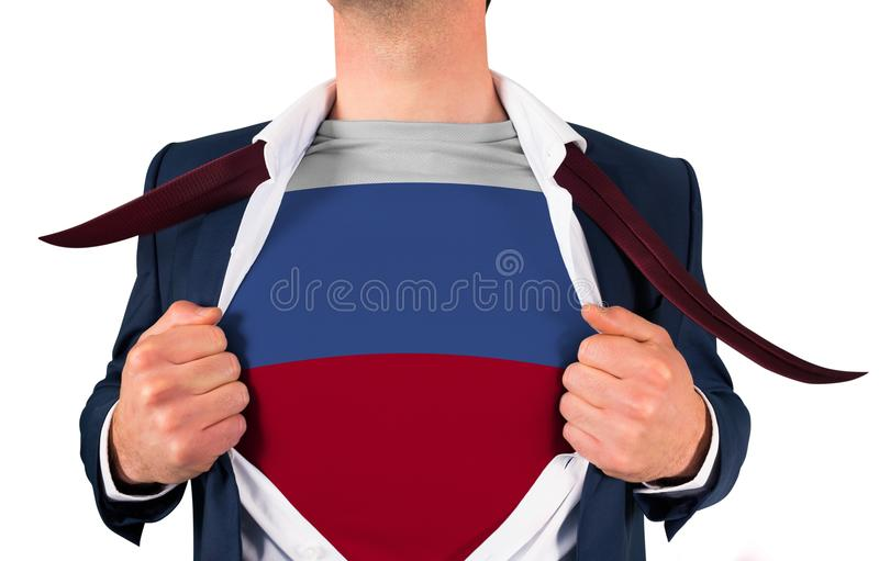 Camisa da abertura do homem de negócios para revelar a bandeira de Rússia foto de stock royalty free
