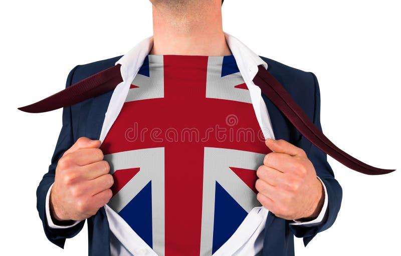 Camisa da abertura do homem de negócios para revelar a bandeira do jaque de união foto de stock