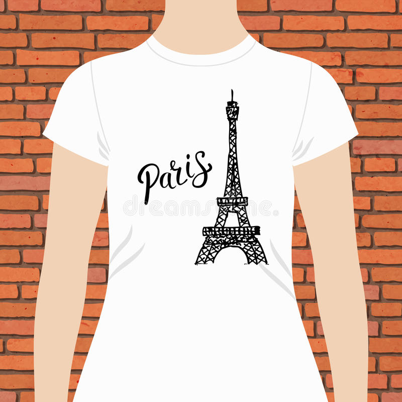 Camisa da mulher branca com texto e torre Eiffel de Paris ilustração royalty free