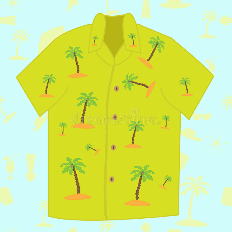 Camisa de hawaiana para los hombres stock de ilustración
