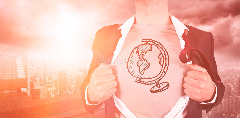 Camisa de la abertura del hombre de negocios con garabato global ilustración del vector