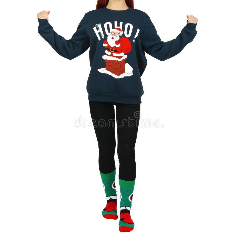 Camisa de Papai Noel do manequim da mulher imagem de stock