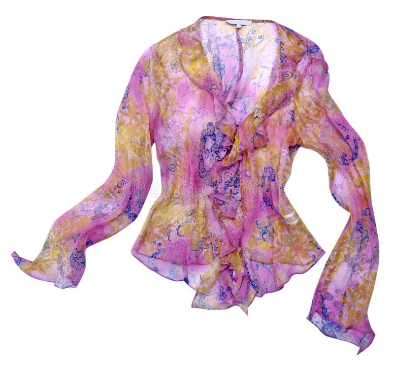 Camisa de seda de la blusa de la flor rosada imagenes de archivo