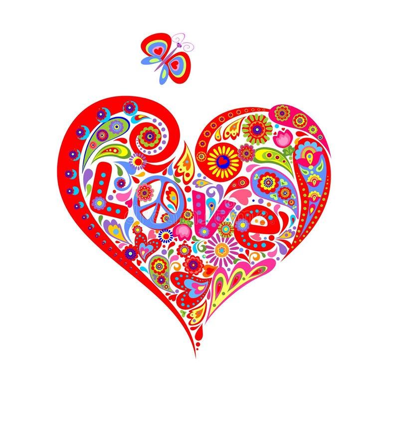 Camisa de T com forma abstrata colorida do coração com o símbolo de paz da hippie, a margarida, a rotulação do amor e a borboleta ilustração stock
