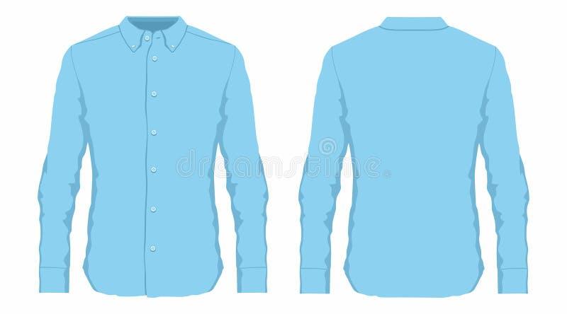 Camisa de vestido azul do ` s dos homens ilustração do vetor