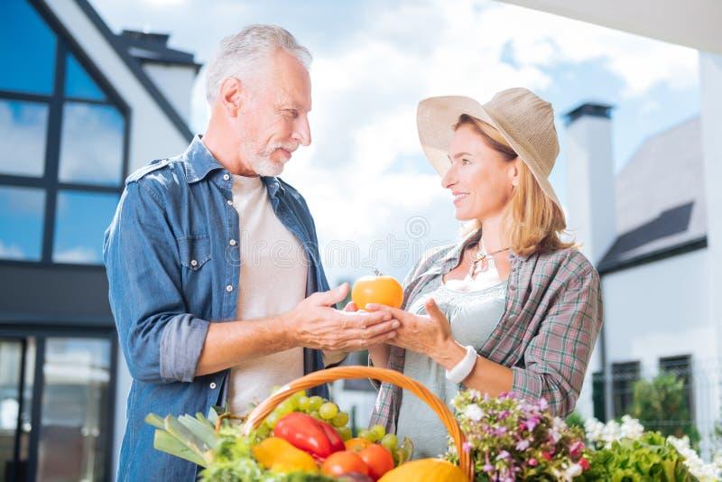 Camisa del dril de algodón del hombre que lleva hermoso elegante que trae las frutas y verduras fotos de archivo libres de regalías