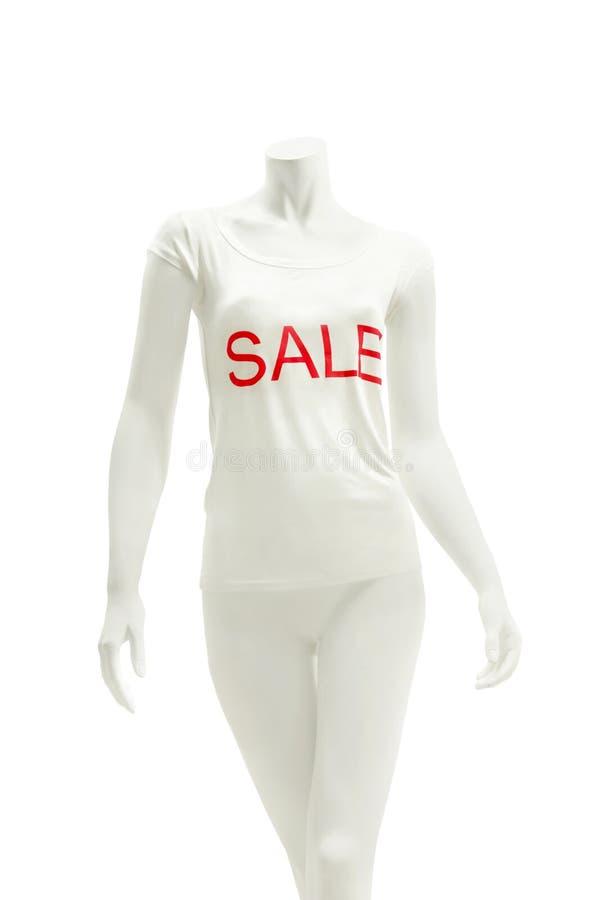 Camisa desgastando do manequim do indicador com venda do imprint foto de stock