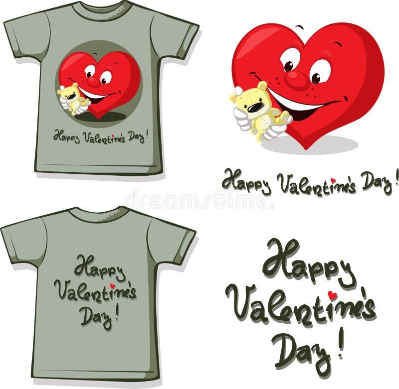 Camisa divertida de la tarjeta del día de San Valentín con el corazón y el peluche - vector stock de ilustración