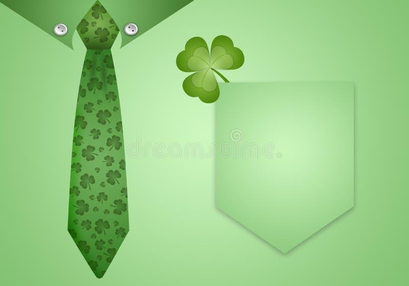 Camisa e laço verdes com trevos ilustração do vetor
