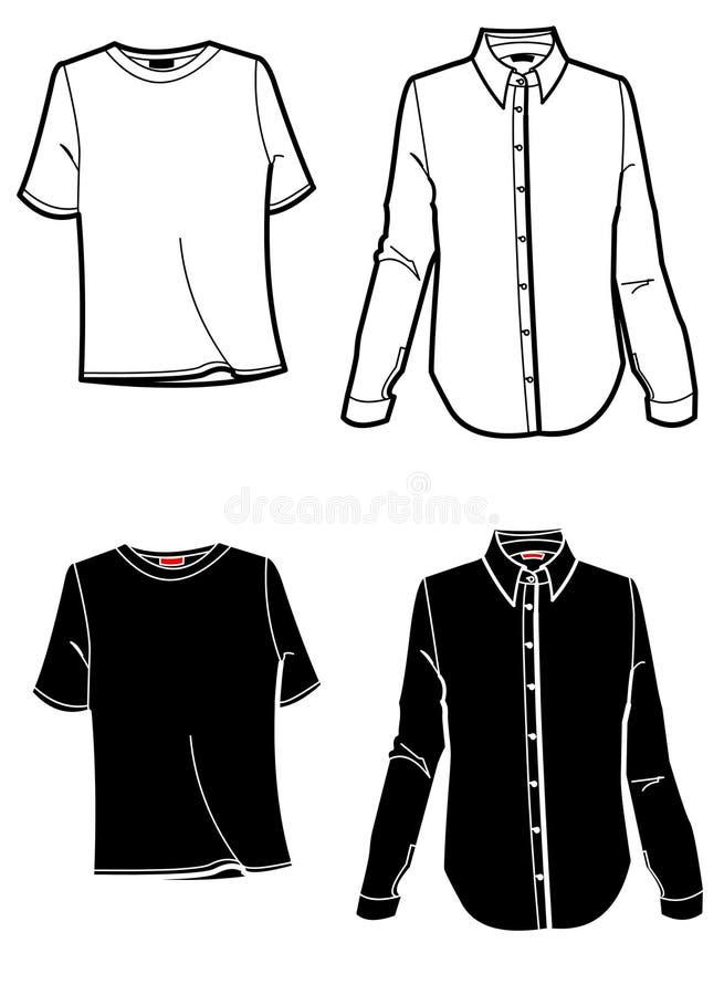 Camisa e t-shirt da placa de forma ilustração do vetor
