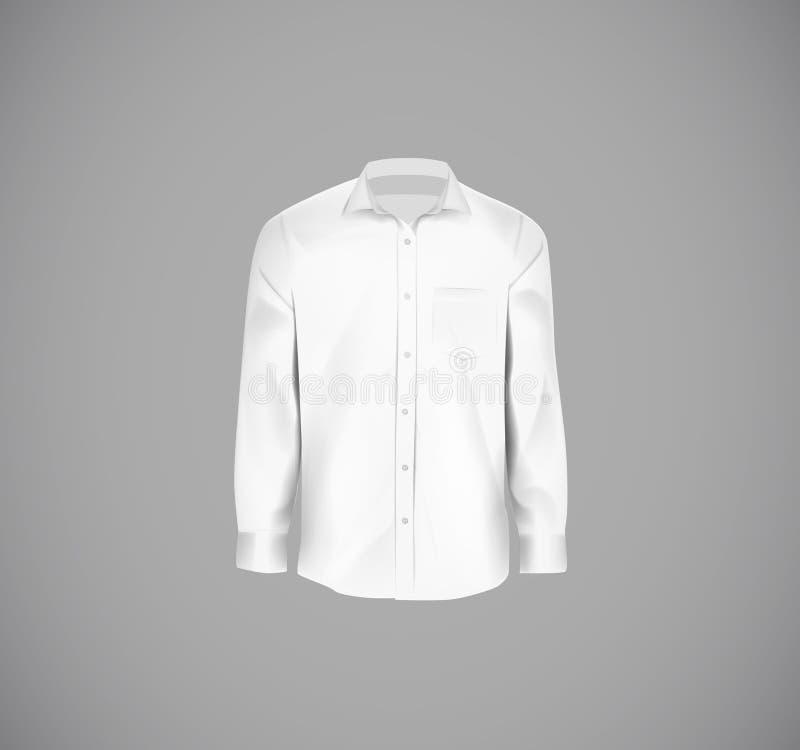 Camisa formal da cor branca Camisa de vestido vazia com bot?es ilustração do vetor