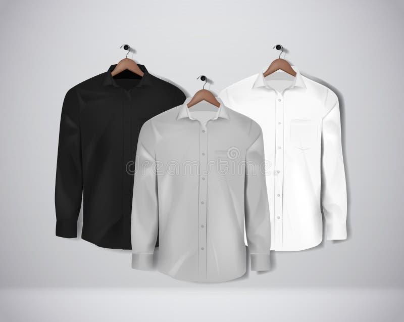 A camisa formal da cor preta, branca e cinzenta ajustou-se Camisa de vestido vazia com bot?es ilustração royalty free