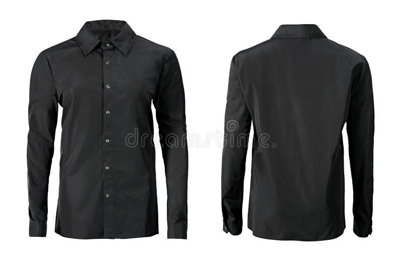 Camisa formal da cor preta com do botão o colar para baixo isolado no whi fotos de stock