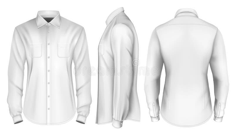 Camisa formal de largo envuelta para hombre ilustración del vector