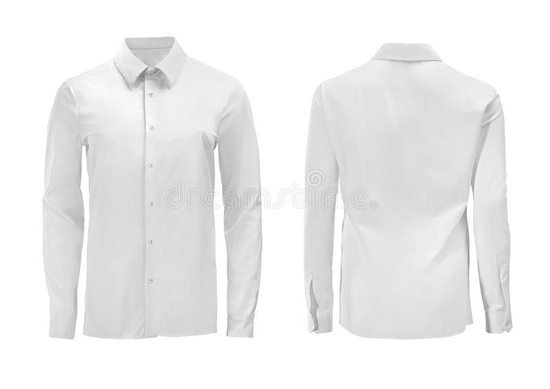 Camisa formal del color blanco con el cuello abotonado aislado en whi fotos de archivo libres de regalías