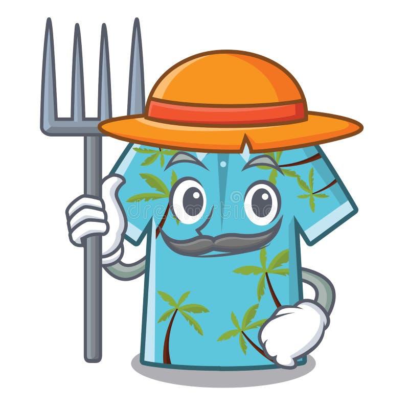 Camisa havaiana do fazendeiro na forma da mascote ilustração do vetor