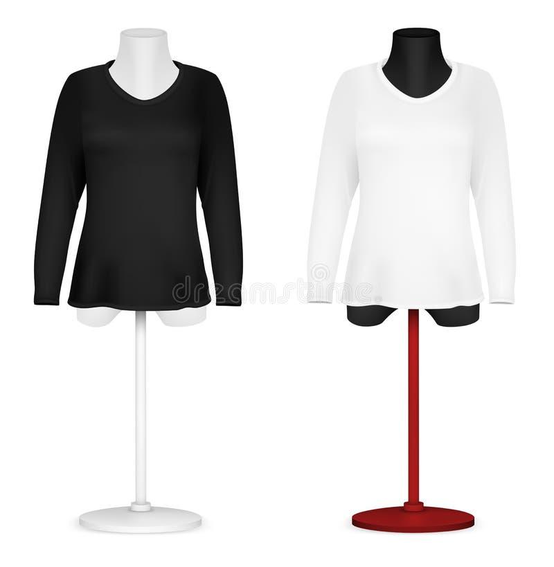 Camisa larga del espacio en blanco de la manga en plantilla del torso del maniquí. ilustración del vector
