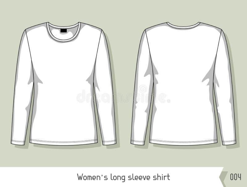 Camisa longa da luva das mulheres Molde para o projeto, facilmente editável por camadas ilustração stock