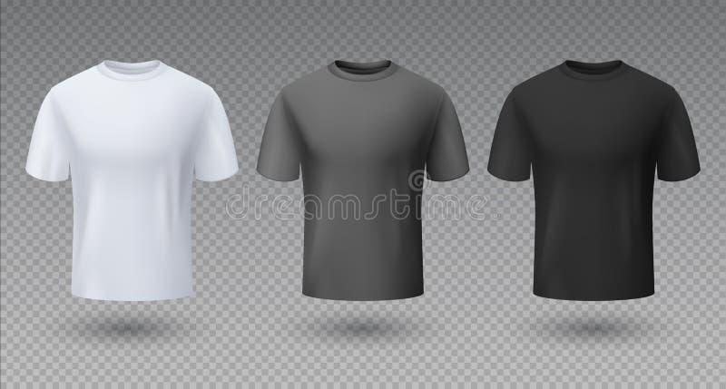 Camisa masculina realística Modelo preto e cinzento branco do t-shirt 3D, molde vazio, roupa unisex limpa do esporte ilustração royalty free