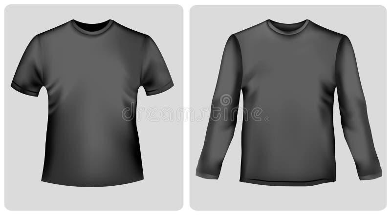 Camisa negra con las fundas y la camisa largas. stock de ilustración