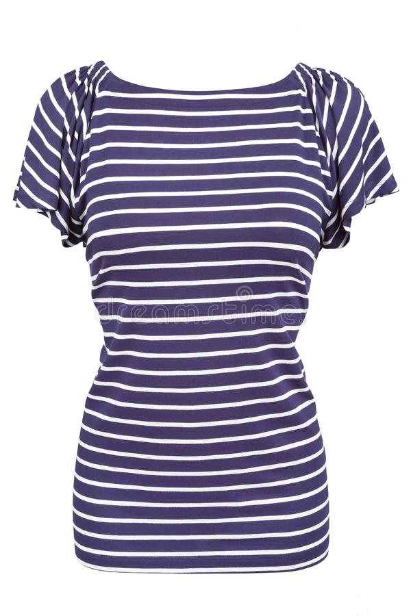 Camisa rayada náutica del cuello barco con las mangas flounced foto de archivo