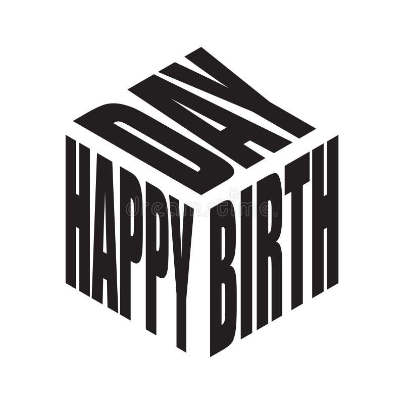 Camisa simples preto e branco do slogan t do texto do feliz aniversario Vetor gráfico das frases para o cartaz, etiqueta, cópia d ilustração royalty free