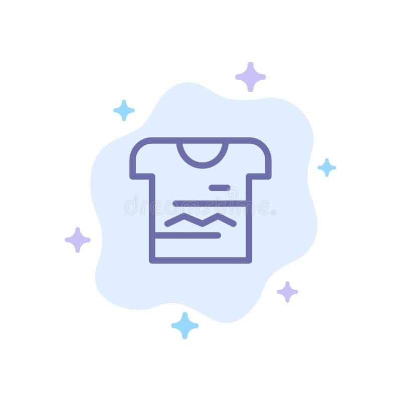 Camisa, Tshirt, pano, ícone azul uniforme no fundo abstrato da nuvem ilustração stock