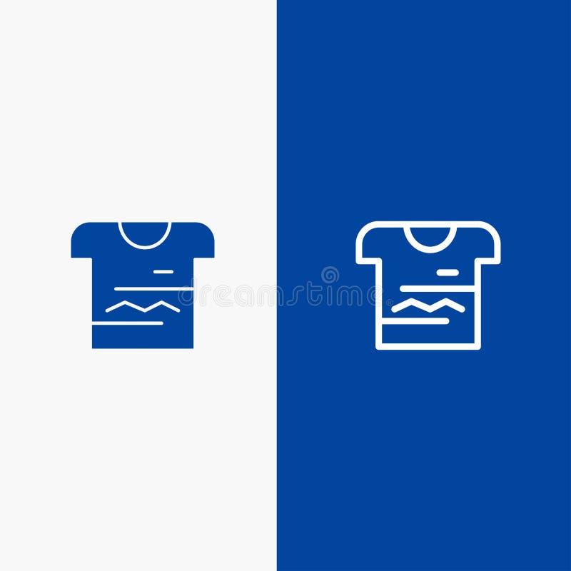 Camisa, Tshirt, pano, do ícone contínuo azul da linha e do Glyph de bandeira do ícone contínuo uniforme da linha e do Glyph bande ilustração stock