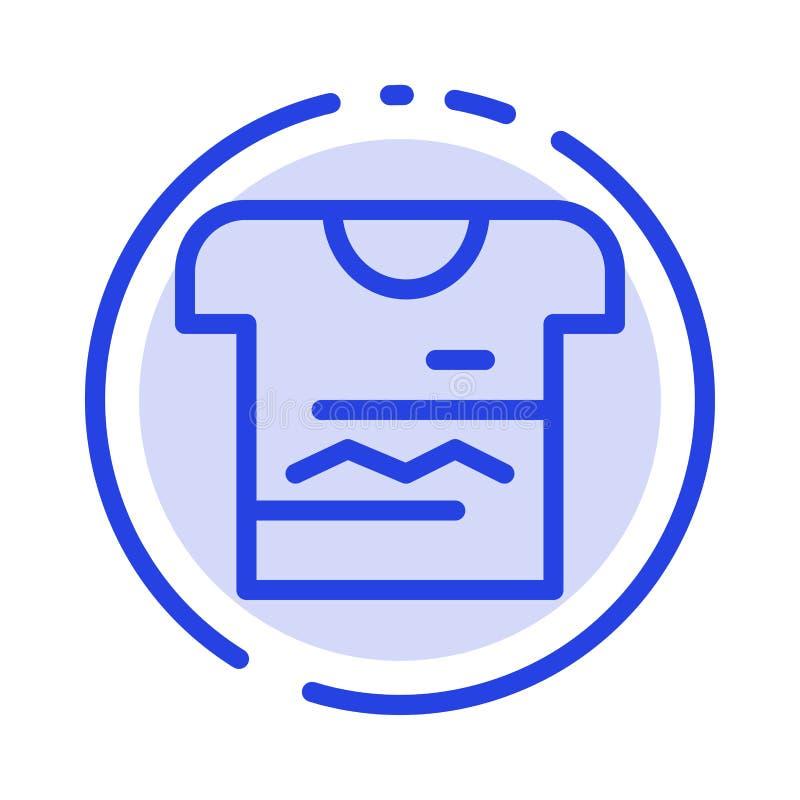 Camisa, Tshirt, pano, linha pontilhada azul uniforme linha ícone ilustração do vetor