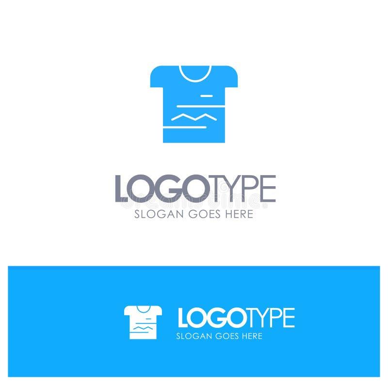 Camisa, Tshirt, pano, logotipo contínuo azul uniforme com lugar para o tagline ilustração royalty free