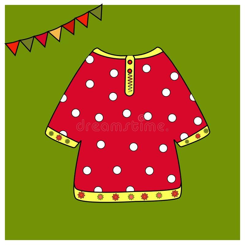 Camisa vermelha nas ervilhas brancas Traje nacional do russo dos elementos Livro para colorir dos atributos ou roupa justa imprim ilustração stock