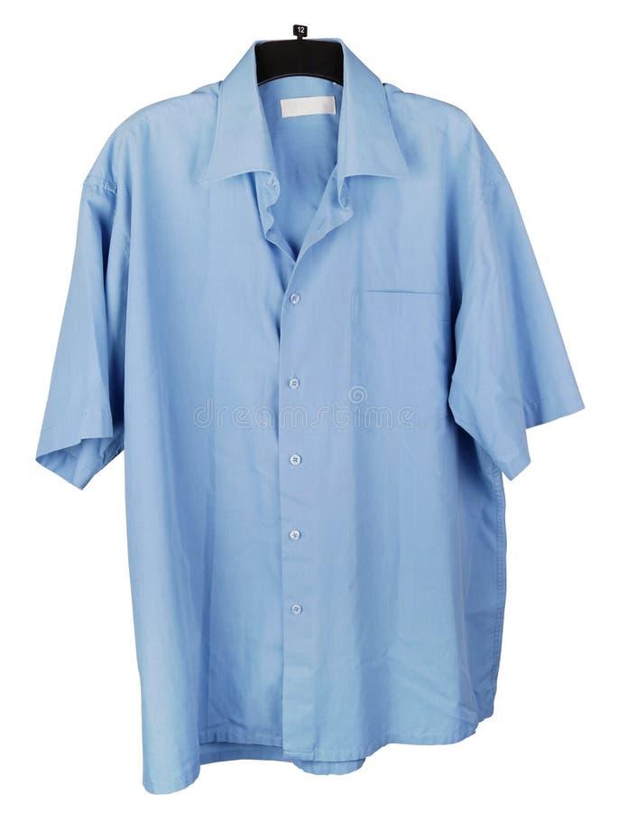 Camisa vieja del verano de la luz del algodón de mi viejo abuelo con las mangas cortas aisladas fotografía de archivo libre de regalías