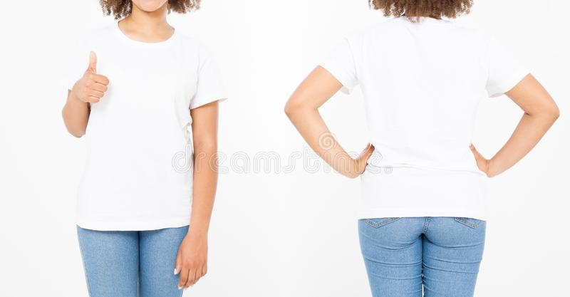Camisas ajustadas Projeto da camisa do verão t e para fechar-se acima da mulher afro-americana nova que mostra o polegar grande a fotos de stock royalty free