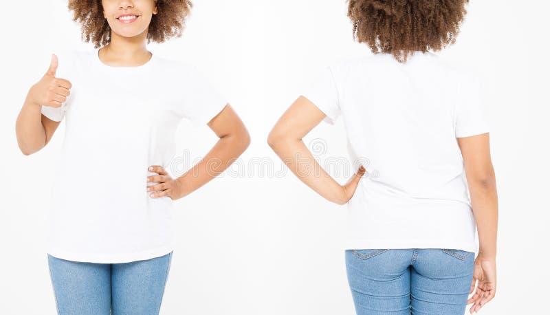Camisas ajustadas Projeto da camisa do verão t e para fechar-se acima da mulher afro-americana nova que mostra o polegar grande a fotografia de stock royalty free