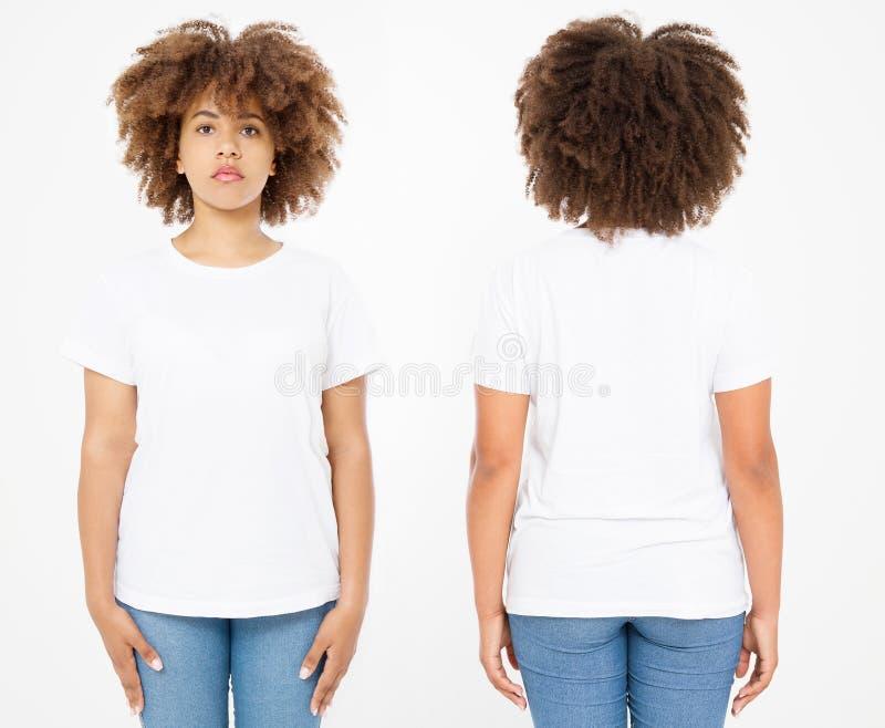 Camisas ajustadas Projeto e fim da camisa do verão t acima da mulher afro-americana nova no t-shirt vazio do branco do molde Zomb foto de stock royalty free