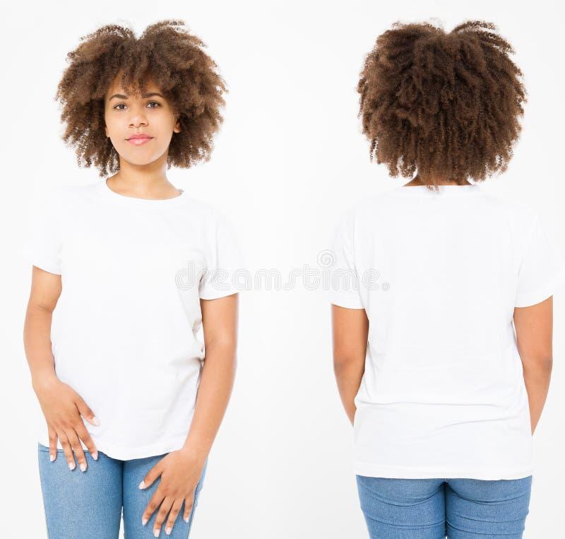 Camisas ajustadas Projeto e fim da camisa do verão t acima da mulher afro-americana nova no t-shirt vazio do branco do molde Zomb imagem de stock royalty free