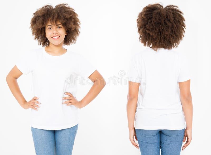 Camisas ajustadas Projeto e fim da camisa do verão t acima da mulher afro-americana nova no t-shirt vazio do branco do molde Zomb imagem de stock