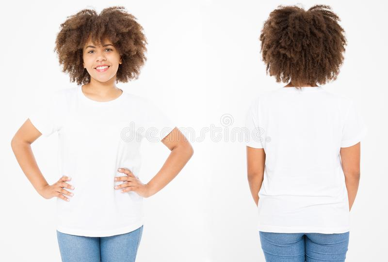 Camisas ajustadas Projeto e fim da camisa do verão t acima da mulher afro-americana nova no t-shirt vazio do branco do molde Zomb fotos de stock