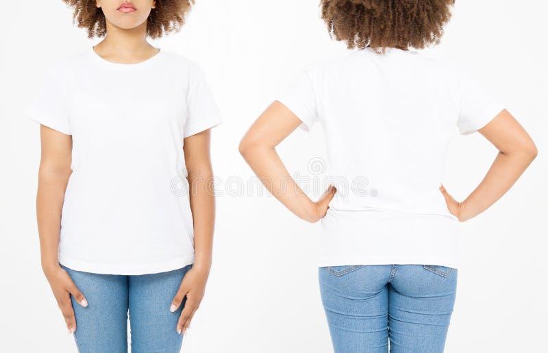 Camisas ajustadas Projeto e fim da camisa do verão t acima da mulher afro-americana nova no t-shirt vazio do branco do molde Zomb fotografia de stock royalty free