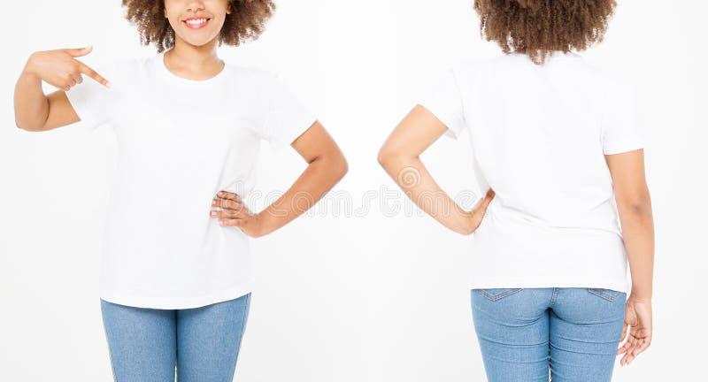 Camisas ajustadas Projeto e fim da camisa do verão t acima da mulher afro-americana nova que aponta no t-shirt branco do molde da imagens de stock royalty free