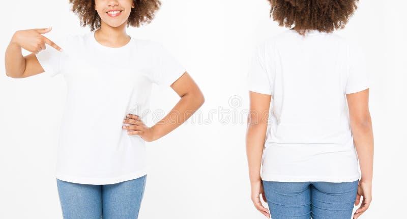 Camisas ajustadas Projeto e fim da camisa do verão t acima da mulher afro-americana nova que aponta no t-shirt branco do molde da imagem de stock royalty free