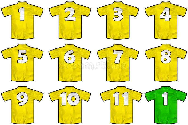 Camisas amarelas da equipe ilustração do vetor