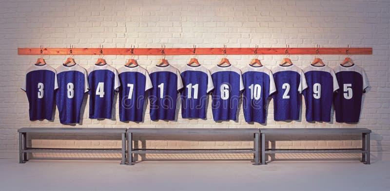 Camisas azuis do futebol fotos de stock royalty free