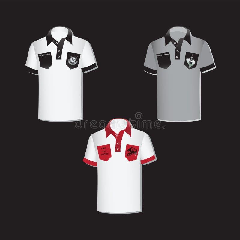 Camisas blancas y grises del ` s de los hombres con los emblemas stock de ilustración