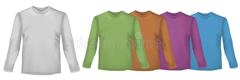 Camisas coloreadas con las fundas largas. stock de ilustración